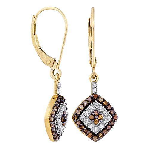 10K Yellow Gold Square Princess Shape Halo Dangle Channel Set Chocolate Brown & White Diamond Earrings (1/2 cttw.)