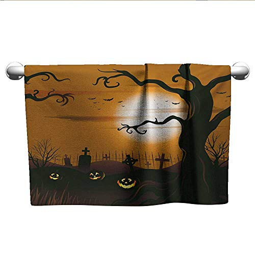 alisoso Halloween,Dish Towels Leafless Creepy Tree with Twiggy Branches at Night in Cemetery Graphic Drawing Decorative Towels Brown Tan W 28