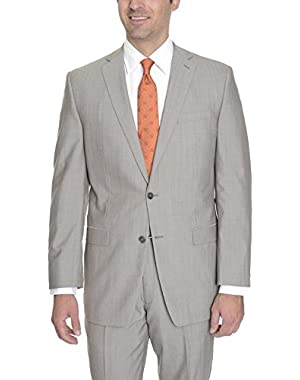 Calvin Klein Slim Fit Light Tan Stepweave Wool Suit