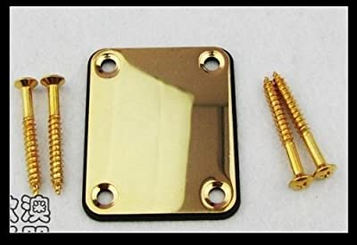 Musiclily Metal 4 Hole Guitar Neck Plate for Fender Strat Tele Guitar or Bass,Gold from Musiclily