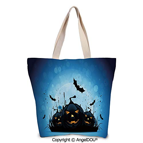 SCOXIXI Halloween printed Tote Schoolgirl Bag Ladies Shopper Canvas Bags Scary]()