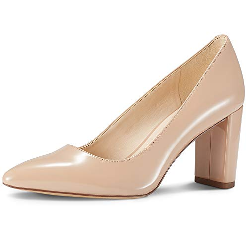 JENN ARDOR Chunky Thick Block Heel Pumps Pointed Closed Toe Office Dress Lady High Heel Shoes Beige 8.5 M US ()