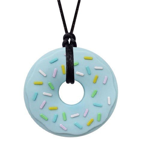 Sensory Oral Motor Aide Chewelry Necklace - Chewy Jewelry for Sensory-Focused Kids with Autism or Special Needs - Calms Kids and Reduces Biting/Chewing (Blue Donut) by Munchables Chewelry