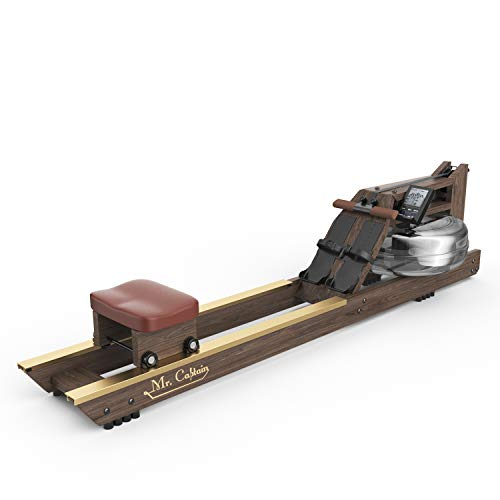 Mr Captain Vintage Oak Water Rowing Machine with New Customizable Bluetooth Monitor