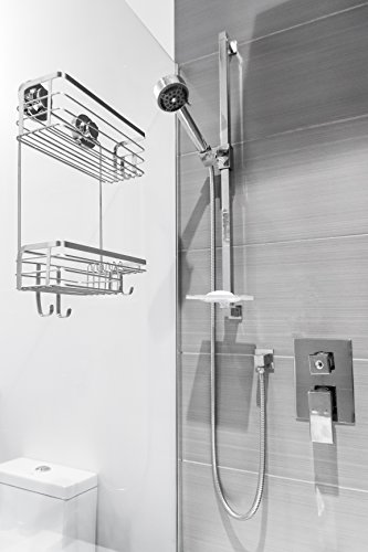 Vidan Home Solutions Shower Caddy | Stainless Steel, Wall Mounted with Suction Cups, rustproof, Modern, Spacious, Multi-Shelf Shower Organizer for Shampoo