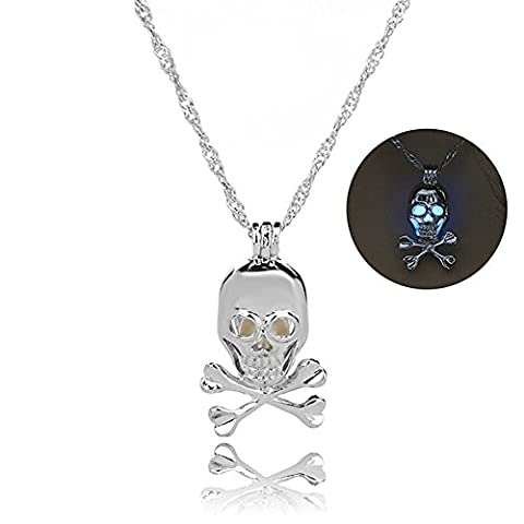 Linsh Glow in The Dark Skull Pendant Necklace(Sky Blue Light) - Dark Sky Chain