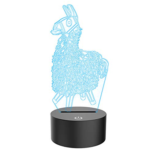 3D Illusion Lamp Alpaca Led Night Light, USB Powered 7 Colours Flashing Touch Switch Bedroom Decoration Lighting for Kids Christmas Gift