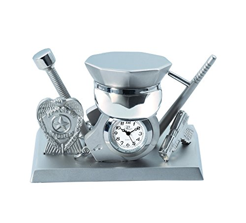 Sanis Enterprises Silver Police Clock, 2.5 by 3.5-Inch