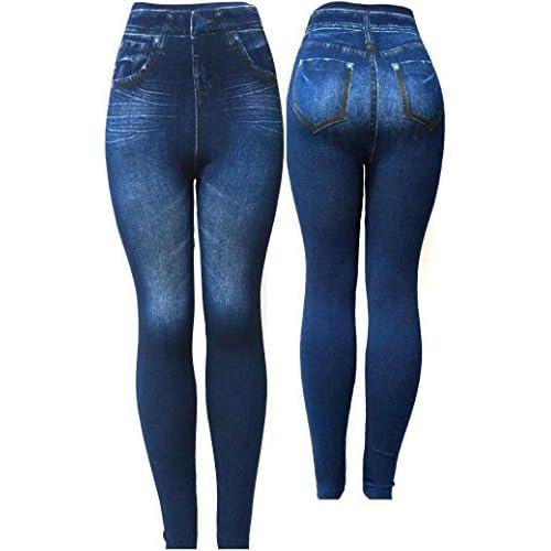 872b095b03bc80 Juniors Womens ONE SIZE S-M-L-XL Leggings/Jeggings BLUE Print Denim Jeans  Style cheap