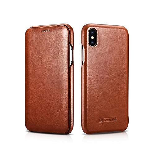 ICARER Case for iPhone XS, Bpowe Vintage Series Ultra Slim Genuine Leather Folio Flip Case Cover Curve Edge Full Screen Protection for Apple iPhone X 2017/ iPhone XS 2018 5.8inch (Brown)