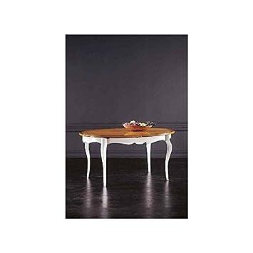 tavolo legno massello ovale allungabile laccato bianco e noce ... - Tavolo Ovale Allungabile Legno Massello