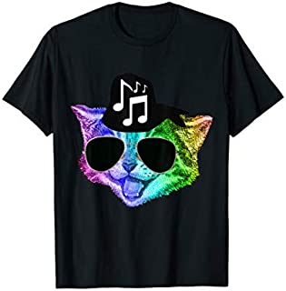 Funny Colorful Rainbow DJ Music Kitty Feline Cat Lover Gift T-shirt | Size S - 5XL