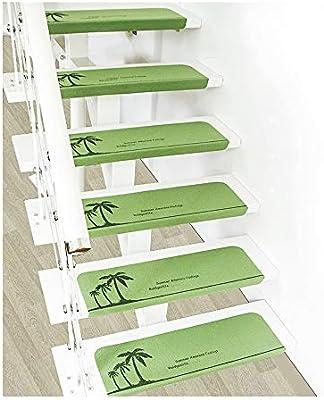 YXUD Alfombra Escalera - Escalera Antideslizante para Interiores Juego de Múltiples,escaleras con peldaños de Escalera con Respaldo de Goma - 55x22cm,Green,7pieces: Amazon.es: Hogar