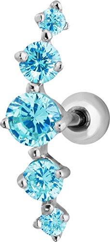 16g 6mm Surgical Steel 5-Gem Curved Aqua Blue CZ Crystal Cartilage Stud (Aqua Blue Earrings)