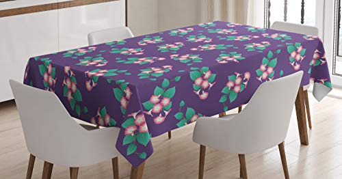Lunarable Floral Tablecloth, Pretty Blooming Morning Glory Arrangements with Leaves, Dining Room Kitchen Rectangular Table Cover, 60 W X 90 L Inches, Dark Seafoam Pastel Pink Quartz White