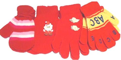 Set of Four Pairs Magic Stretch Mittens Gloves for Infants Ages 1-3 Years - Sport Bunker Cap