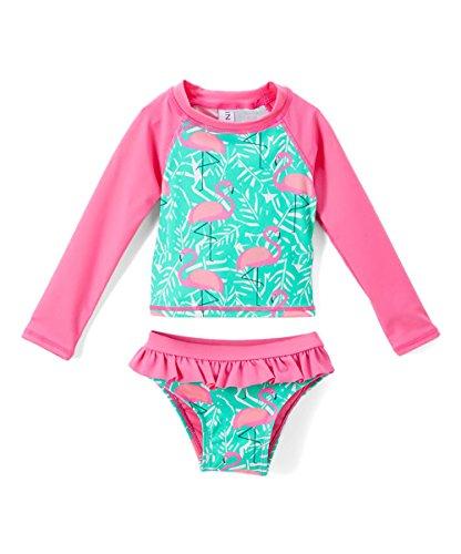 Toddlers & Baby Girls Swimsuit Two-Piece Tankini Rash Guard Set UPF 50+ UV Swim Shirt Bikini Swimsuit (Pink Flamingo, 18 ()