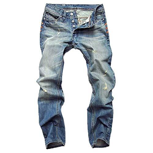 Ropa Ripped Pantalón Pantalones Jeans Colour Hombre Hole Pantalones Jeans Moda Slim Stretch Mezclilla Casual Fit Rectos para De Pantalones De Vintage 4wrz4A