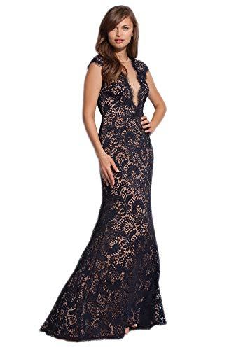 Jovani 78450 Stretch Delicate Lace Gown with Plunging Neckline, Sexy Open Back, Navy/Nude, Size 6 ()