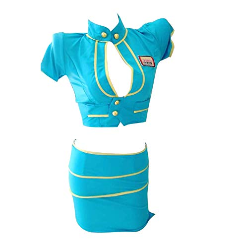 YINUO Sexy 3PCS Peacock Blue Airline Ladys Cosplay Costume Flight Attendant Uniforme Policewoman Outfit