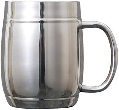 Taza De Agua Doméstica Taza De Café Taza De Acero Inoxidable Doble Asa Con Conveniente Vaso De Cerveza Barra De Vidrio De Leche