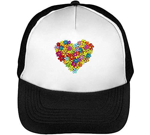 Beisbol Flower Heart Blanco Gorras Negro Hombre Snapback x86v76a