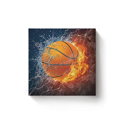 Arts Language Canvas Wall Art Square Oil Painting Office Home Decor,Cool 3D Basketball with Flame Print Artworks for Christmas,Stretched by Wooden Frame,Ready to Hang,16 x 16 (New Logo Framed Poster Basketball)