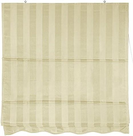 36 in. x 72 in. Cream Oriental Furniture Striped Roman Shades