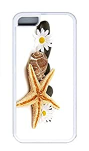 iPhone 5C Case, Personalized Custom Rubber TPU White Case for iphone 5C - Starfish Flower Cover