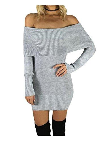 Legou Damen Schulterfrei Enges Jersey-Kleid Sexy Bodycon Minikleid Grau