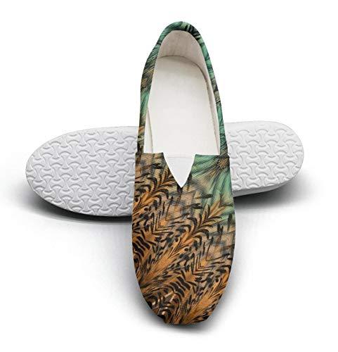 Unique Hip Hop Womens Canvas Flat Shoes-Leopard Skin Wild cat Fur Style Comfortable Low Top Slipon Sneaker ()
