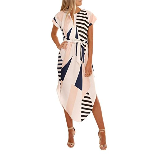 KESEE V-Neck Geometric Irregular Print Dress 2018 New Women Casual Short Sleeve Maxi Dress With Belt (L, White)