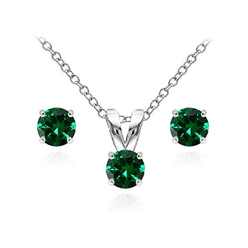 - Sterling Silver Simulated Emerald 5mm Round Solitaire Pendant Necklace and Stud Earrings Set for Girls