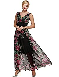 ANGVNS Women Floral Print Chiffon Long Dress with Necklace