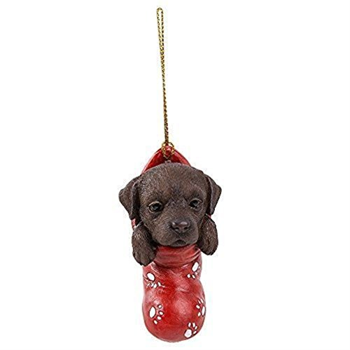 Ky & Co YesKela Christmas Tree Hanging Ornament Chocolate Labrador In Red Socks Small Figurine -