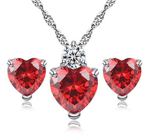 (5.2 Ct Simulated Red Crystal Gemstone Heart Ruby Garnet with Simulant Diamond Accent - Earrings Pendant Necklace Jewelry Set -Great Valentine's Birthday Anniversary Mother's Day Wedding Gift)