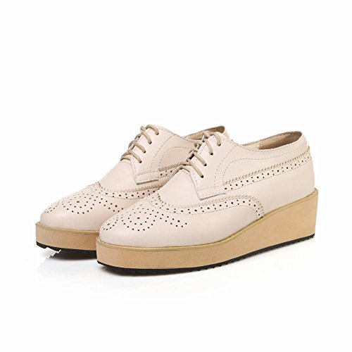 Mee Shoes Damen modern bequem populär retro-stil amtungsaktiv Keilabsatz Durchgängiges Plateau Schnürhalbschuhe Beige