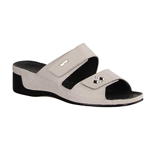 Vital 0805-03950 - Zapatos mujer Zapato abierto / Chanclas de dedo, Gris, piel de nobuk, altura de tacón: 40 mm