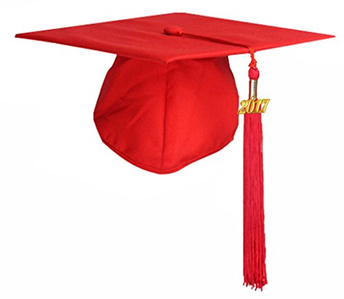 [2018 Year Charm Available] GraduationMall Unisex Adult Matte Graduation Cap with Tassel 2017 (Red Graduation)