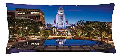 - King65irginia American Throw Pillow Cushion Cover, Los Angels City California USA Popular Town Urban Downtown Architecture Scenery, Decorative Square Accent Pillow Case, 36 X 16 inches