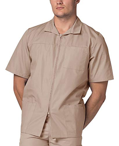 Adar Universal Men's Zippered Short Sleeve Jacket (Available in 7 Colors) - 607 - Khaki - ()