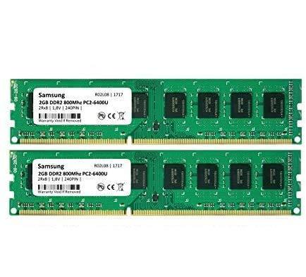 Samsung 4GB Dual-Channel KIT (2X 2GB) DDR2 800Mhz PC2-6400 240pin Desktop werkgeheugen RAM Memory 3rd DIMM