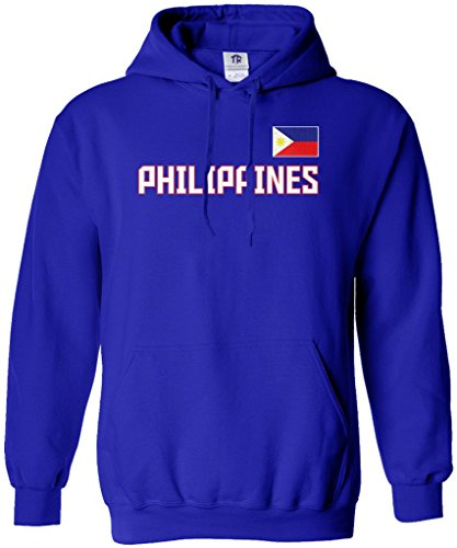 Threadrock Women's Philippines National Pride Hoodie Sweatshirt S Royal Blue