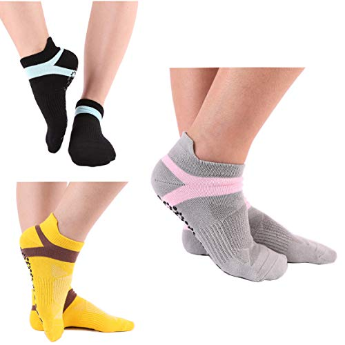 LECIEL 3 Pairs Yoga Socks for Women Non Slip Socks for Pilates, Pure Barre, Ballet, Dance, Barefoot Workout Size (5-9)