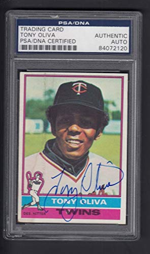 Tony Oliva Autographed Signed 1976 Topps Baseball Card #35 Twins PSA Authentic - Certified Signature ()