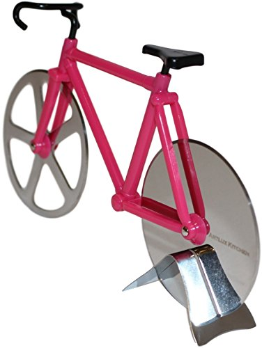 Artlux Kitchen Pizza Cutter gift - Bicycle Pizza Cutter Dual Stainless Steel Slicing Bike Wheels (Pink/Silver) (Fixie Rollers)