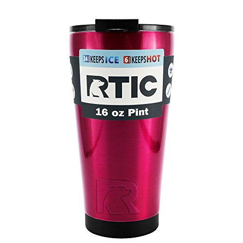 RTIC Hot Pink Translucent 16 oz Stainless Steel Tumbler Cup (16 Oz Translucent Tumbler)