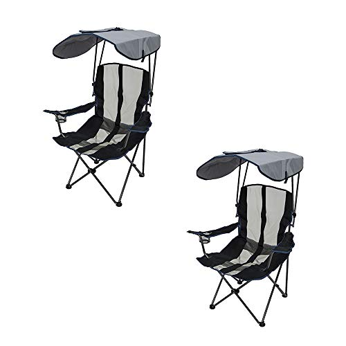 SwimWays Kelsyus UPF Portable Camping Folding Lawn Chair with Canopy, Navy (2 Pack) ()