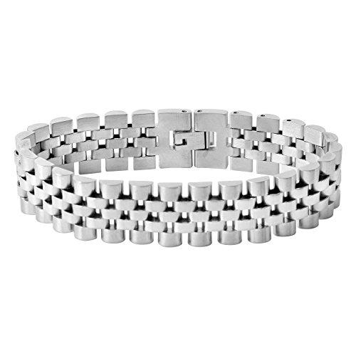 Zilver Men's 18k White Gold Pl Stainless Steel Bracelet - WatchBand Link, Jubilee Link, Watchstrap, Armlet, Bangle