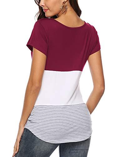 Bourgogne Col Hauts Rond Blouse En Manches Color Block Femmes Courtes shirt Amoretu T Rayé OwCqwI5